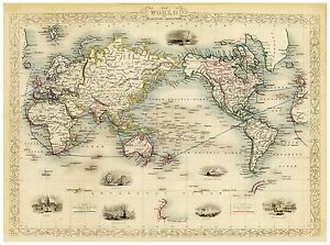 Old-Map-of-The-World-on-Mercator-s-Projection-richly-illustrated-Tallis-1851