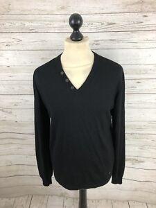 HUGO-BOSS-Jumper-Size-Medium-Black-Wool-Great-Condition-Men-s