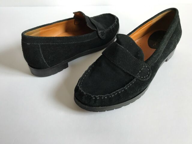 Cole Haan Womens Black Suede Penny Loafers Size 6.5 B   eBay