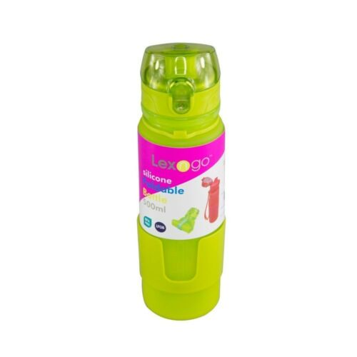 Silicone Collapsible Water Bottle Camping Outdoor Travel Cycling Green 500ml