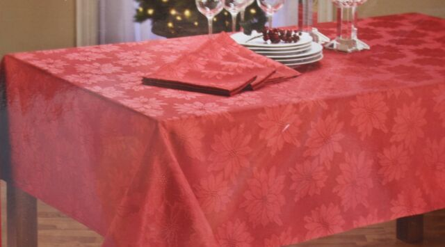 Christmas Holiday Home Red Poinsettia Tablecloth 70 Round NIP