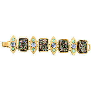 Pulsera-Dorado-Ancho-Geometrica-Rectangulo-Oval-Multicolor-Azul-Verde-Retro-CT2
