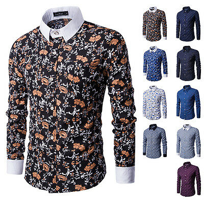 New Mens Luxury Long Sleeve Floral Autumn Casual Party Shirts Slim Fit Dress Top