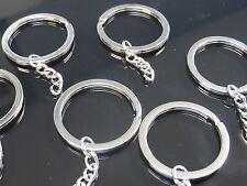 10 Anillas de llavero metal 34mm con cadena,portachiavi,porte-clés,keychain