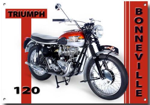 TRIUMPH BONNEVILLE T120 MOTORCYCLE METAL SIGN.(A3 SIZE) VINTAGE MOTORCYCLES.b
