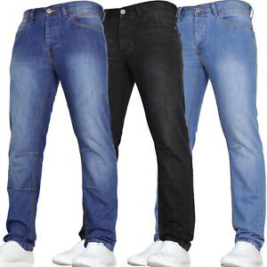Jeans-da-Uomo-Slim-Fit-Pesante-Denim-Casual-Pantaloni-Gamba-Dritta-Pantaloni-Nuove-Tutte-Le-Taglie