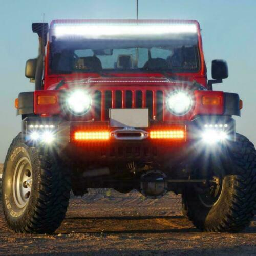 Pair 7 Inch Round Led Headlight Hi//Lo Projector Chrome 300W For JEEP Wrangler JK
