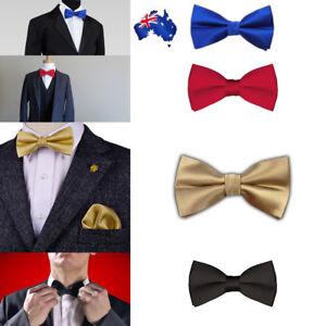 Mens Silk Satin plain Tuxedo Solid Bow Tie Formal Wedding Bowtie Necktie ties AU