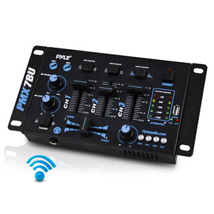 New 3-Channel Bluetooth DJ MP3 Mixer & Mic-Talkover USB/Dual RCA & Microphone In