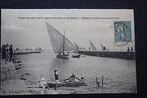 Tarjeta-Postal-Antigua-CPA-animada-PALAVAS-Barcos-de-pesca-entrando-a-la-Envio