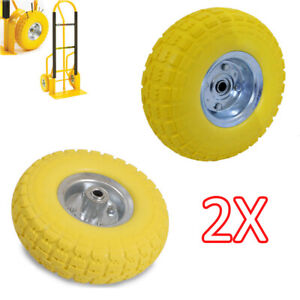 2X-10-034-Yellow-Rubber-Tyre-Wheel-Replacement-NoMore-Flats-Sack-Truck-Trolley-DCUK