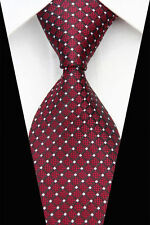 New Red Black Stripe White Spot Dot  Men's  Silk Tie UK Seller Business Gift