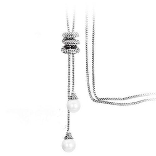 Simple Women Fashion Jewelry Pearl Pendant Necklace Long Tassel Sweater Chain ce