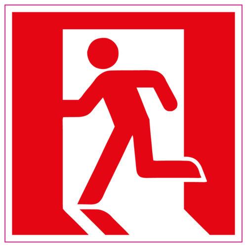Fire EXIT RUNNING MAN Sinistra Rosso Segno//adesivi di salute e sicurezza di allarme di primo soccorso