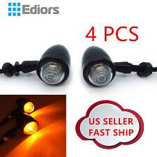 4x Amber Motorcycle Black LED Turn Signal Indicators Blinker Light Universal 12V