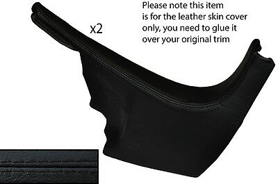 BLACK STITCH 2X LOWER A PILLAR LEATHER COVERS FITS AUDI A3 8P S3 RS3 2003-2012