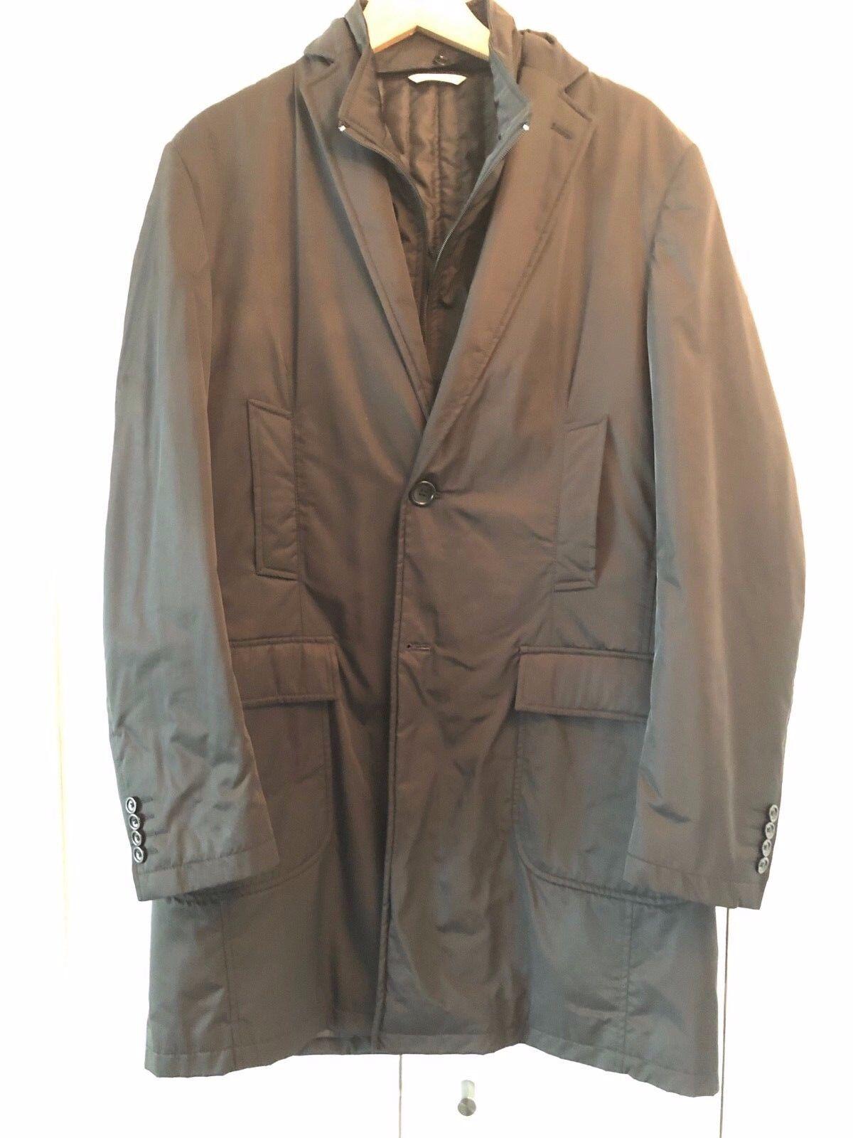 NWOT  Piatelli Barneys NY Layered Nylon Prada Overcoat with Detach Vest L