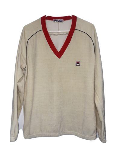 Vintage 70s 80s Fila Tan Soft Velour V Neck Pullo… - image 1