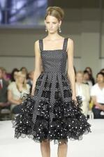 Oscar de la Renta NWT $5K Runway Black White Polka Dot Chiffon Gown Dress 8US