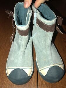 Morgan-and-Milo-Toddler-Size-9-Suede-Boots-Dusty-Blue-and-Brown-CUTE