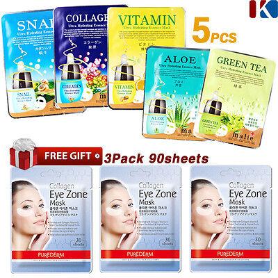 Korean Face Mask Sheet Moisture Essence Facial Mask Pack 5pcs+FREE GIFT 90Sheets