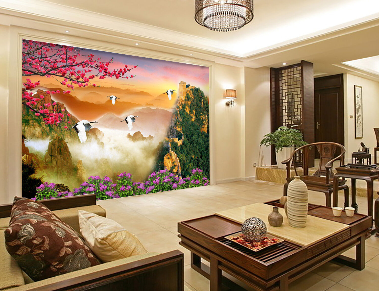 3D Mountains bird Squid Wall Paper Print Decal Wall Deco Indoor wall Mural