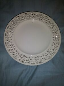 I-GODINGER-CO-SET-8-Ivory-Cream-Lace-Reticulated-FLORAL-ROSE-Decorative-Plates