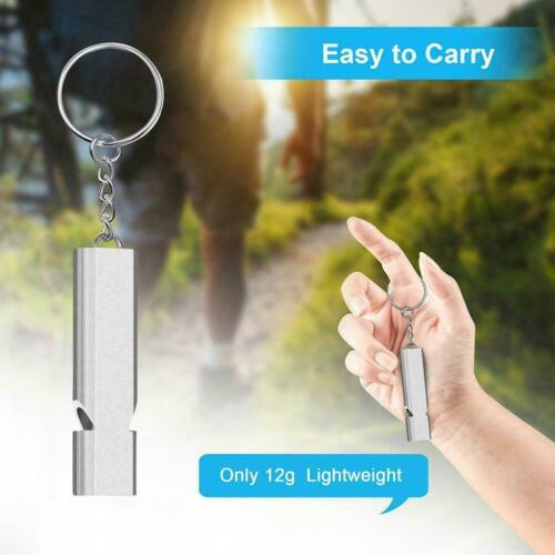 2Pcs Aluminum Alloy Survival Whistle Camping Hiking Keychain Outdoor G7Y1