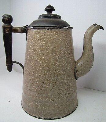 Old Enamel Coffee Tea Pot Brown White Speckled Ornate Wooden Handle Design