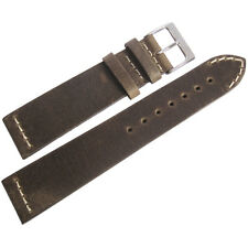 22mm ColaReb Venezia SHORT Mud Brown Leather Italy Made Aviator Watch Band Strap