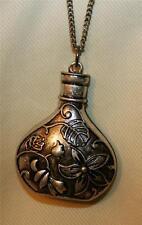 Handsome Sculpted Floral Leafy Pitcher Vial-Shaped Silvertone Pendant Necklace