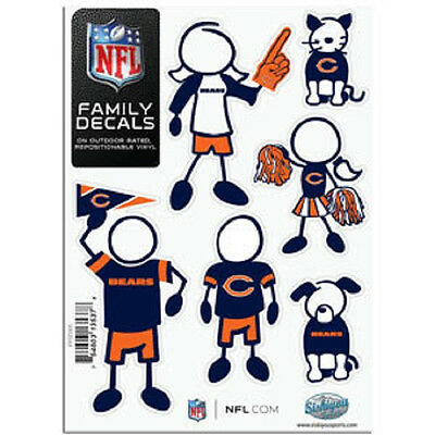 Football Nfl Auto Car Truck Stickers Emblems Nfl Chicago Bears Family Decals 6 Pack New Sports Mem Cards Fan Shop