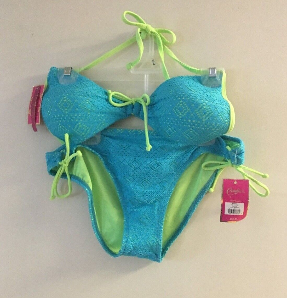 CANDIE'S TWO PIECE SEA blueE BATHING SUIT JR EXTRA LARGE NWT