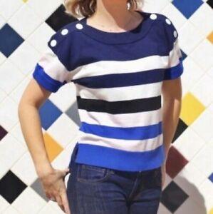 CABI-Medium-Women-039-s-Sweater-Blue-White-Striped-Nautical-Sailor-Pullover-5448