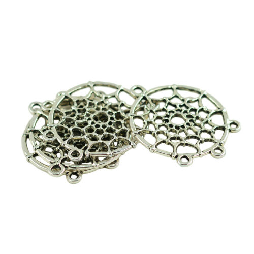 120PCS Antique Silver Feather Dream Catcher Charms Pendants For Necklace DIY