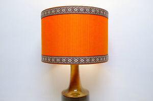 Original-Retro-Fabric-Lampshade-30cm-Drum-Orange-60s-70s-Vintage-Trim