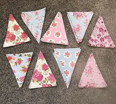 Floral Oil Cloth Bunting Triangles Perfect For Weddings