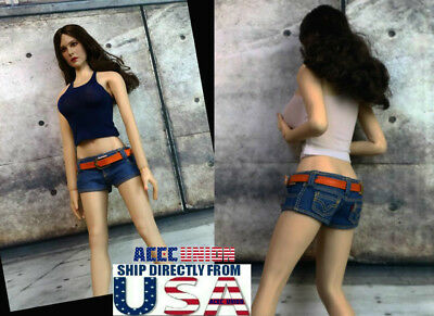 """1//6 Skinny Jeans Pants with Belts For 12/"""" PHICEN Hot Toys Female Figure ❶USA❶"""