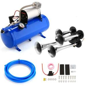 4 Trumpet Train Air Horn 12V Compressor and Kit Set for Vehicle Trucks Car JF