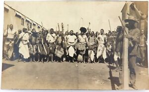 EARLY-1900s-SOUTH-AFRICAN-REAL-PHOTO-POSTCARD-ARMED-INDIGENOUS-GATHERING