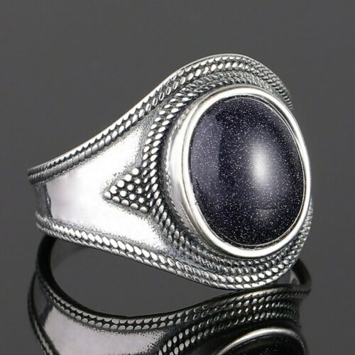 925 Silver Big Oval Natural Blue Sandstone Rings Jewelry Women Punk Wholesale!!
