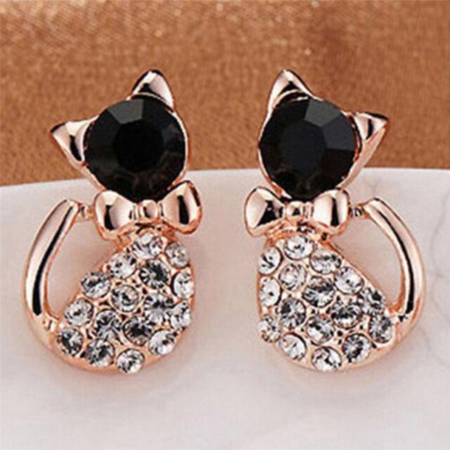 1 Pair Women Fashion Earrings Elegant Cat Crystal Rhinestone Ear Stud EarriB1JB