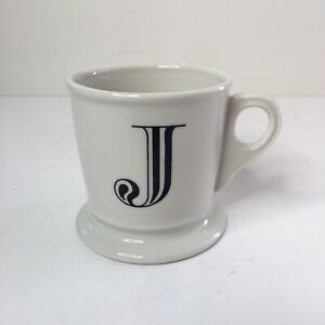 Anthropologie Monogram Letter J White Shaving Style Coffee Mug Cup Black Initial