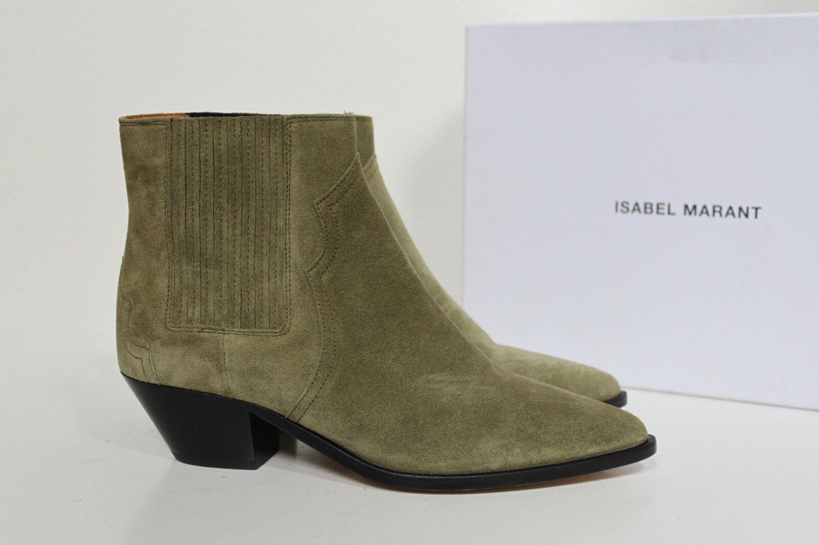 New sz 10.5   41 Isabel Marant Derlyn Khaki Tan Suede Ankle Heel Bootie shoes