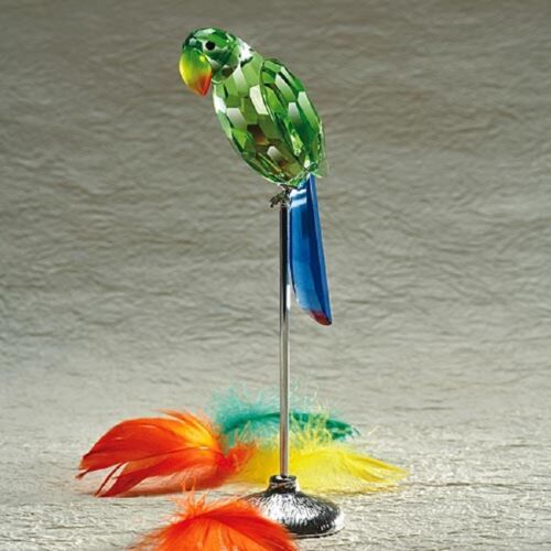 2 PC HUGE FACETED CRYSTAL PARROT FIGURINE TALL Big sale NEW IN BOX DELUXE!