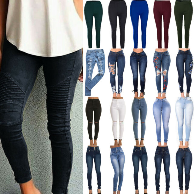 Women's High Waist Skinny Denim Jeans Jeggings Pants Ripped Slim Stretch Trouser