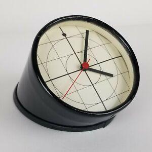 Mid Century Post Modern Desk Clock Memphis Style Geometric Paper Tube W Germany