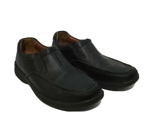 clarks unstructured black leather casual slip on loafers