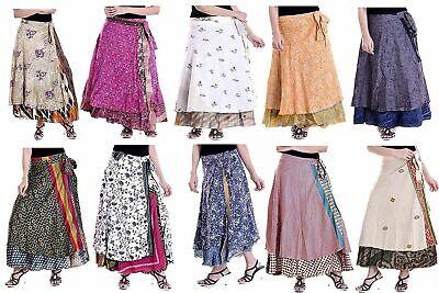 Flamingo /& Caribbean Green Paisley Stripe Free Size Vintage Indian Sari Reversible Wrap Maxi Skirt