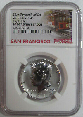 2018 S NGC PF70 LIGHT FINISH Reverse SILVER PROOF Kennedy Half dollar from set